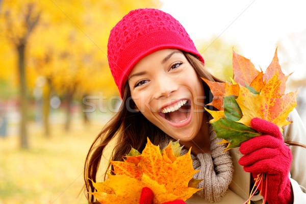 Excited happy fall woman Stock photo © Maridav