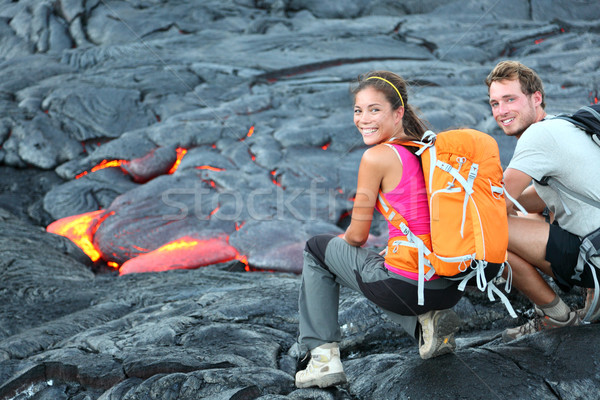 Hawaii lava tourist hiking portrait Stock photo © Maridav