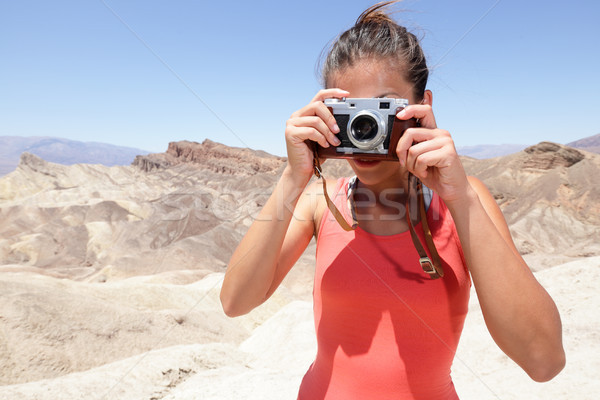 Tourist photographer woman in Death Valley Stock photo © Maridav