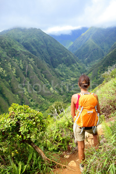 Hiking woman on Hawaii, Waihee ridge trail, Maui Stock photo © Maridav