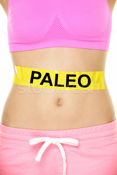 Paleo diet concept - word on stomach Stock photo © Maridav