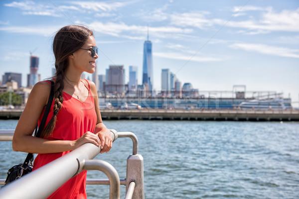 New York City travel - Tourist woman looking at view Stock photo © Maridav