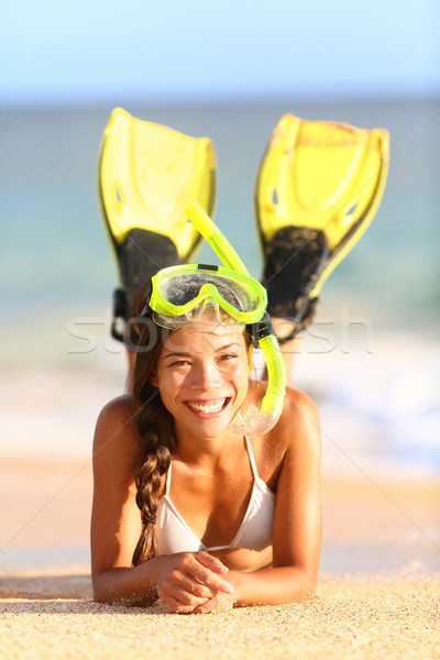 Beach holiday vacation woman snorkeling fun Stock photo © Maridav