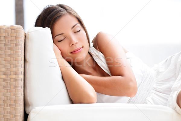 Foto stock: Adormecido · beleza · mulher · sofá · dormir · vestir