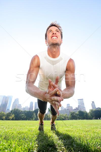 Clap push ups fitness man in Central Park New York Stock photo © Maridav