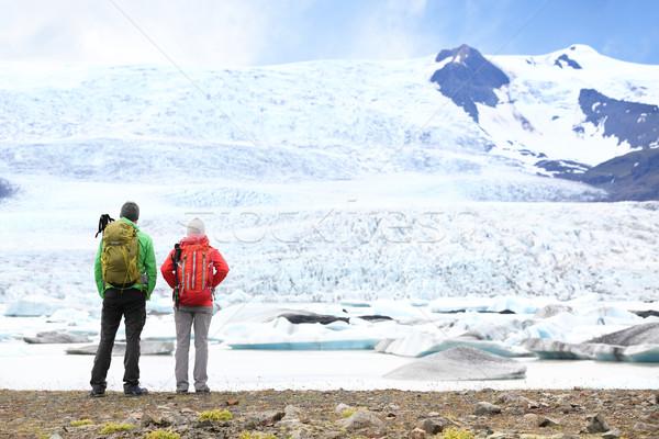 Hiking adventure travel people on Iceland Stock photo © Maridav