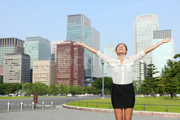Happy success japanese businesswoman in Tokyo Stock photo © Maridav