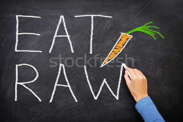 EAT RAW words written on blackboard - food diet Stock photo © Maridav