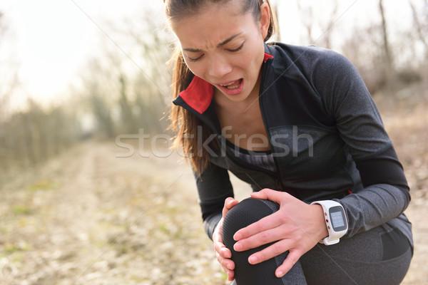 Urazy sportowe uruchomiony dopasować kobieta kolano ból Zdjęcia stock © Maridav