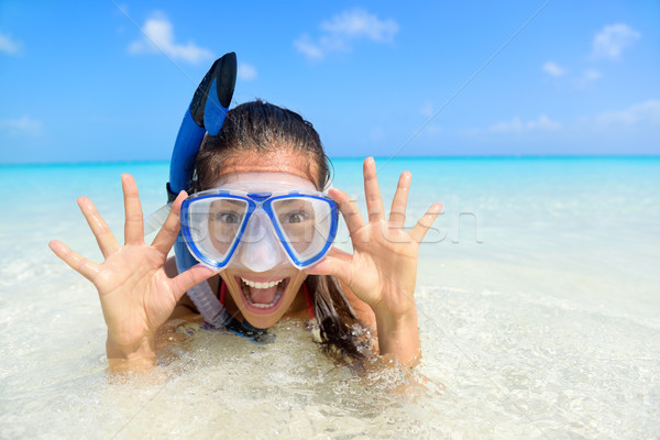 Beach vacation fun woman in snorkel mask Stock photo © Maridav