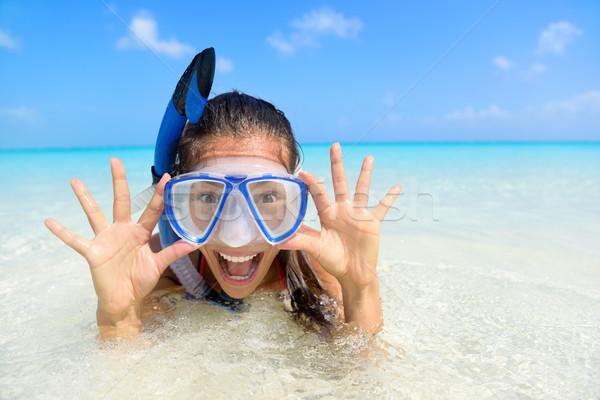 Plaj tatil eğlence kadın şnorkel maske Stok fotoğraf © Maridav