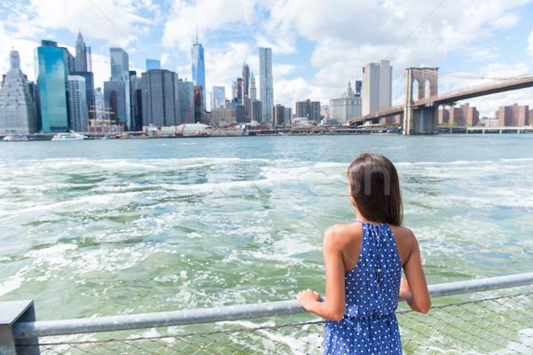 New York tourist looking at Manhattan skyline view Stock photo © Maridav