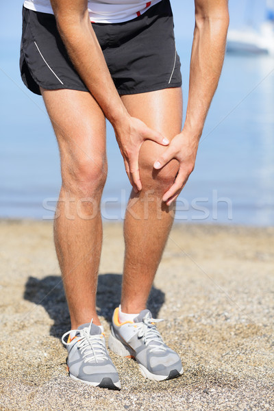 Running injury - Man out jogging with knee pain Stock photo © Maridav