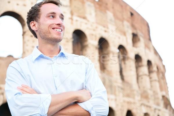 молодые случайный деловой человек Колизей Рим Италия Сток-фото © Maridav