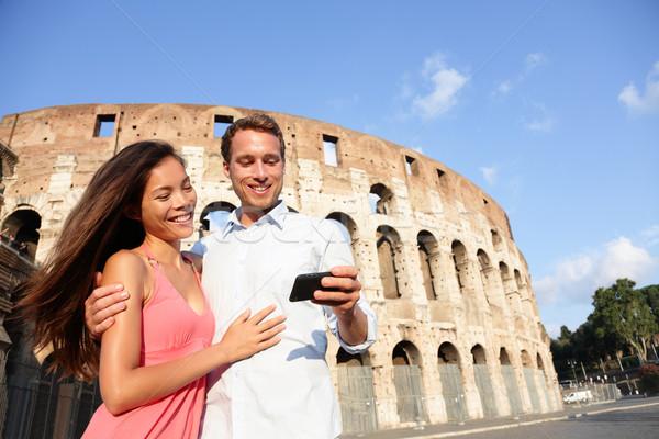 пару Рим Колизей глядя фотографий Сток-фото © Maridav