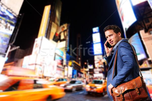 Fiatal városi profi üzletember New York beszél Stock fotó © Maridav