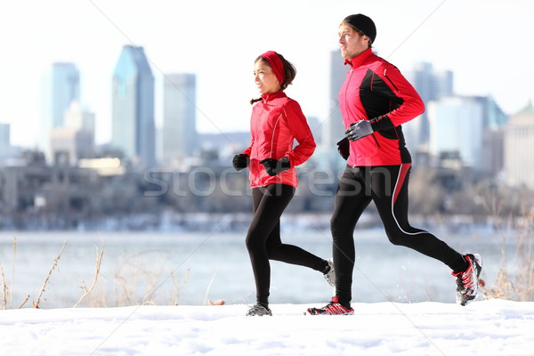 Lopers lopen winter stad sneeuw Stockfoto © Maridav