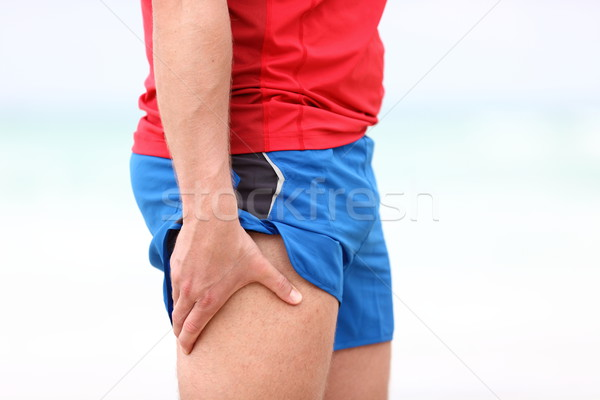 Sports injury - thigh muscle pain Stock photo © Maridav