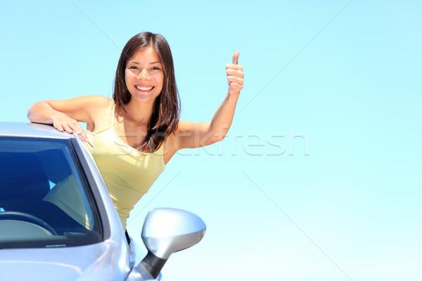 Foto stock: Coche · mujer · conductor · feliz · sonriendo