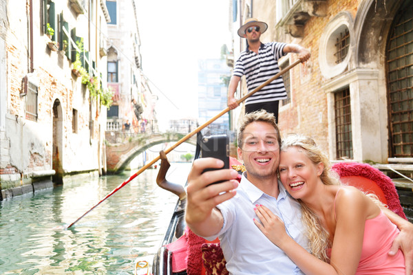 Couple in Venice on Gondole ride romance Stock photo © Maridav
