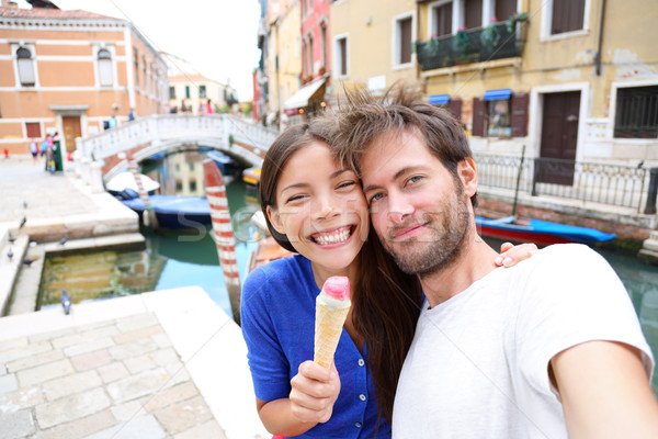 Couple in Venice, eating Ice cream taking selfie Stock photo © Maridav