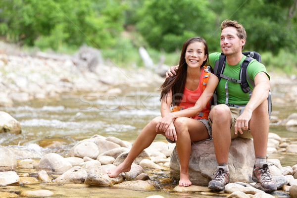 Stock photo: Hiking couple - hikers resting in Zion Park