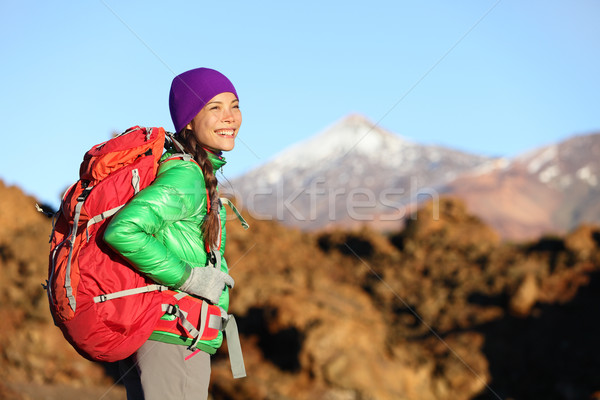 Active woman hiker living healthy lifestyle hiking Stock photo © Maridav
