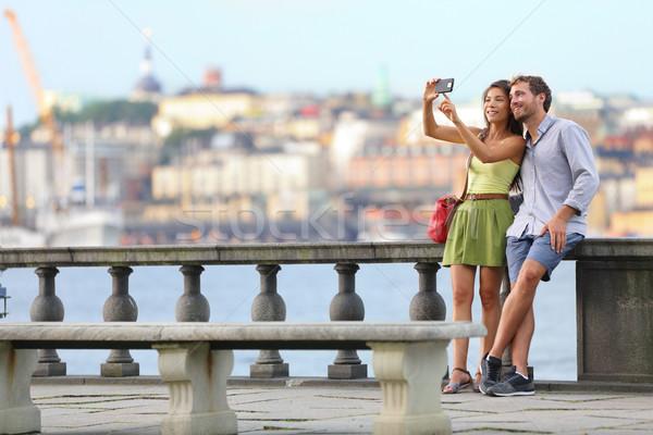 Avrupa romantik çift Stockholm seyahat Stok fotoğraf © Maridav