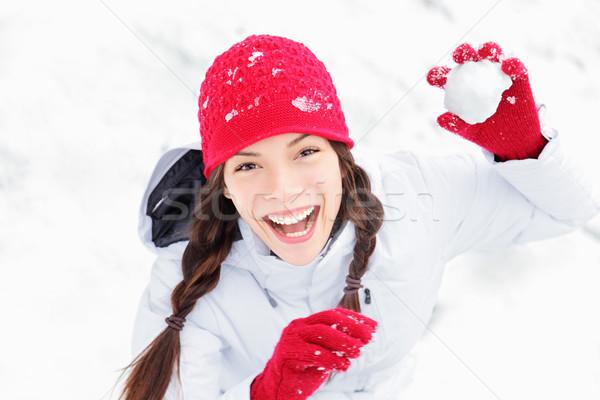 Сток-фото: снега · девушки · зима · весело · снежный · ком
