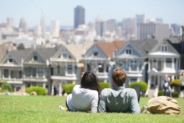 San Francisco kare insanlar çift park boyalı Stok fotoğraf © Maridav