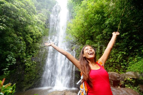 ハワイ 女性 観光 興奮した 滝 旅行 ストックフォト © Maridav