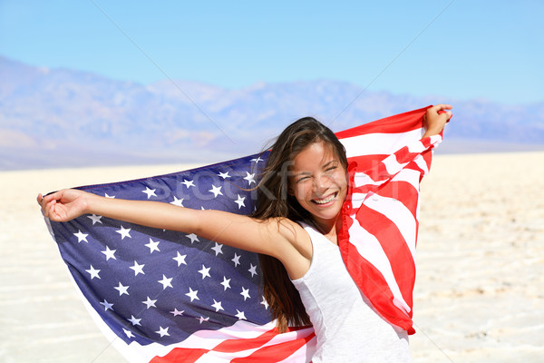 Beautiful woman with the American flag Stock photo © Maridav