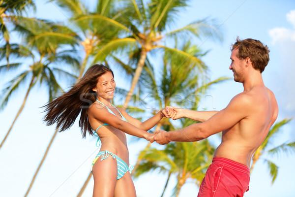 Stockfoto: Strand · paar · leuk · vakantie · dansen