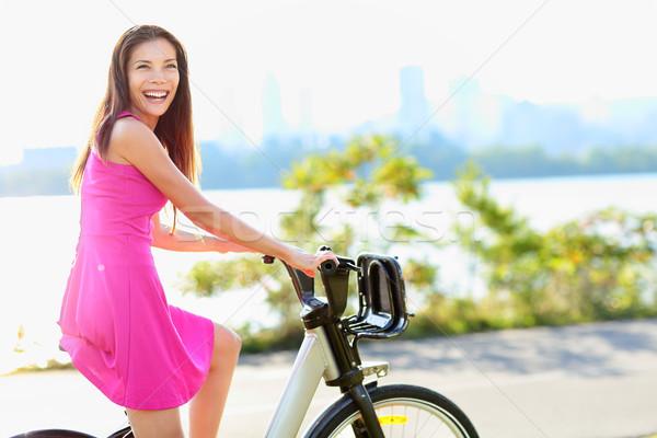 женщину велосипедов город парка велосипед Сток-фото © Maridav