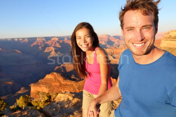 Lifestyle couple hiking in Grand Canyon Stock photo © Maridav