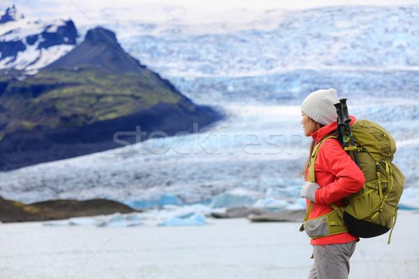 Kaland kirándulás nő gleccser Izland természetjáró Stock fotó © Maridav
