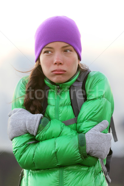 Freezing woman feeling cold outdoors Stock photo © Maridav