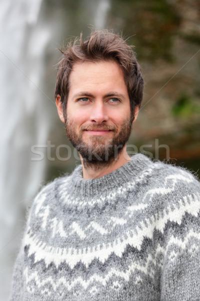 Stockfoto: Portret · man · trui · outdoor · glimlachend · waterval