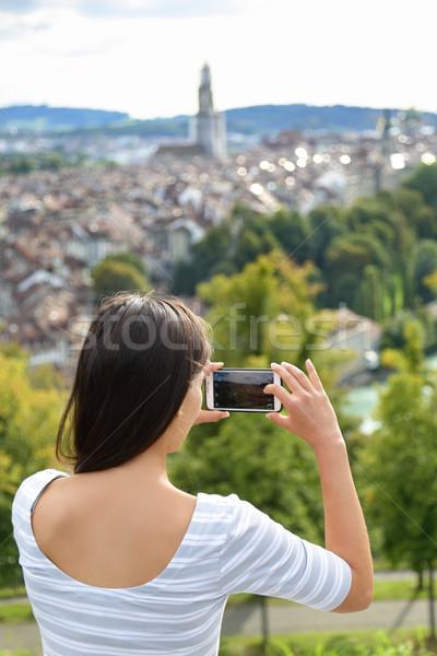 Tourist with smartphone camera in Bern Switzerland Stock photo © Maridav