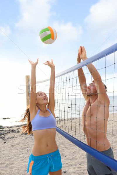 Tengerpart röplabda sport emberek játszik kívül Stock fotó © Maridav