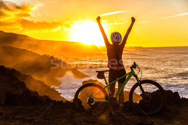 Winning happy MTB mountain biking biker cheering Stock photo © Maridav