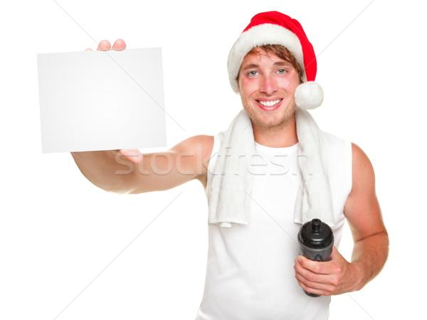 Weihnachten Fitness Mann Geschenkkarte Stock foto © Maridav