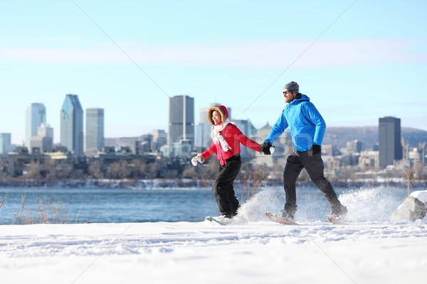 couple snowshoeing in montreal Stock photo © Maridav