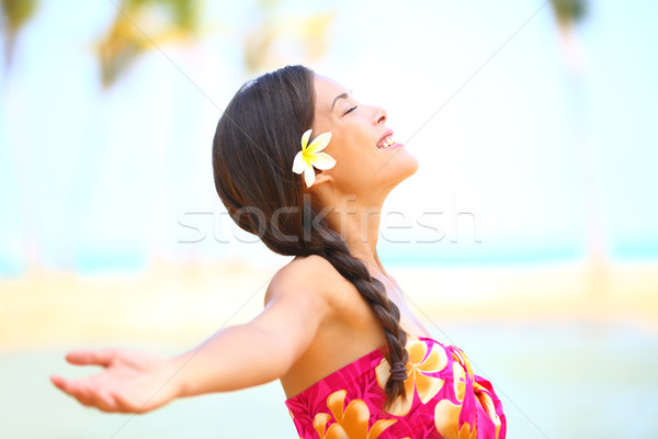 Freedom beach woman happy serene Stock photo © Maridav