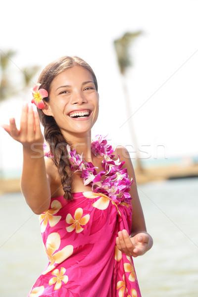 Hula dancer dancing hula dance on hawaii Stock photo © Maridav