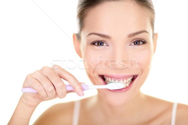 Nő fogmosás tart fogkefe fogápolás közelkép Stock fotó © Maridav