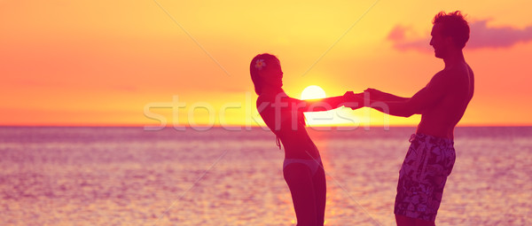 Romantik çift balayı seyahat afiş plaj Stok fotoğraf © Maridav