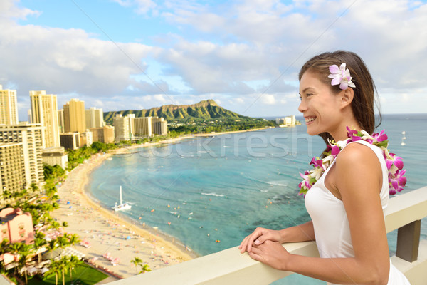 Hawaii Travel - Tourist looking at Waikiki beach Stock photo © Maridav