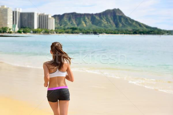 Fut nő futó jogging tengerpart fut Stock fotó © Maridav