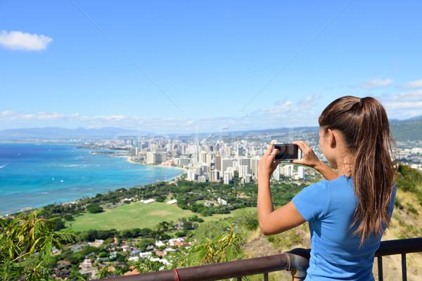 Hawaii turista elvesz fotó Honolulu Waikiki Stock fotó © Maridav